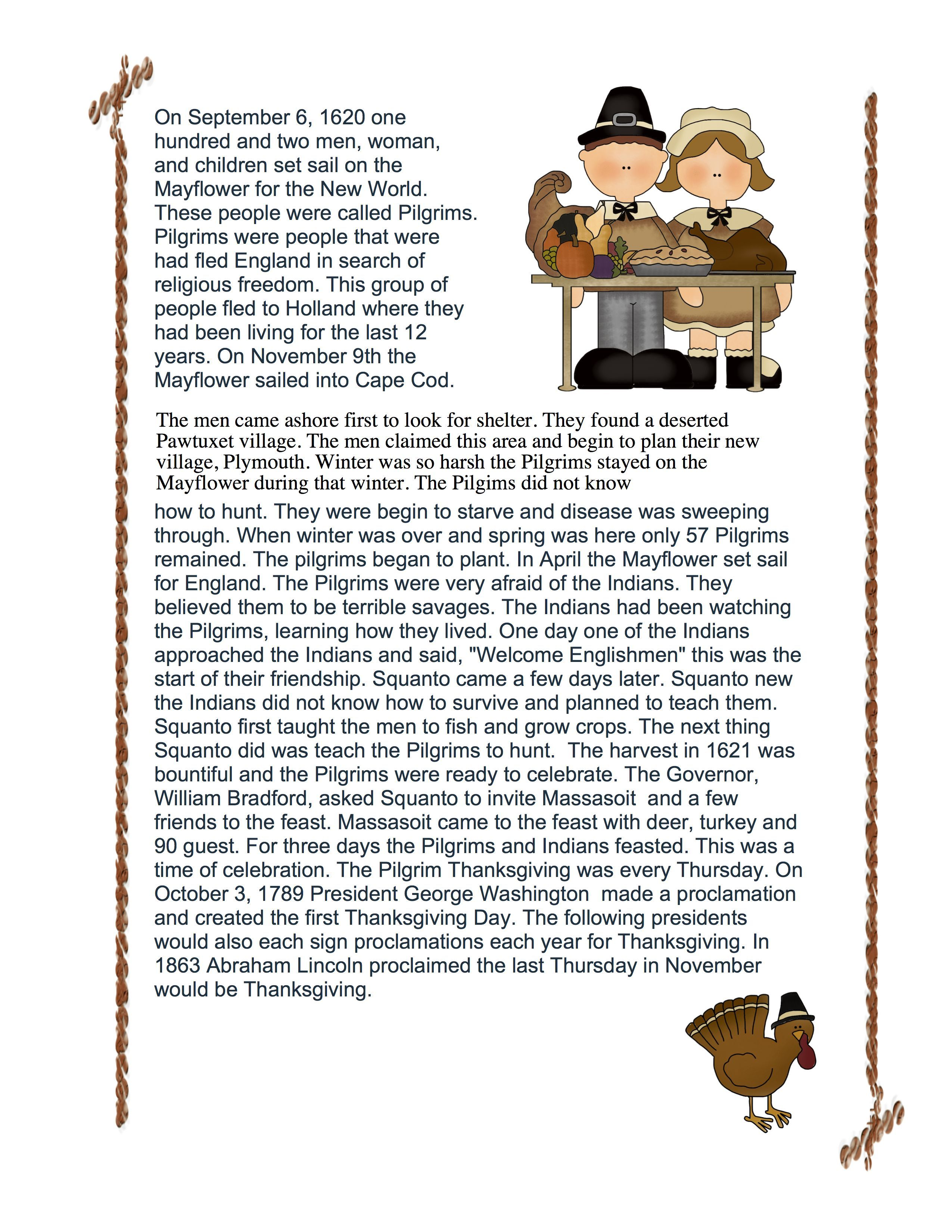 Teacher Talk: Thanksgiving Comprehension   Thanksgiving reading  comprehension [ 3300 x 2550 Pixel ]