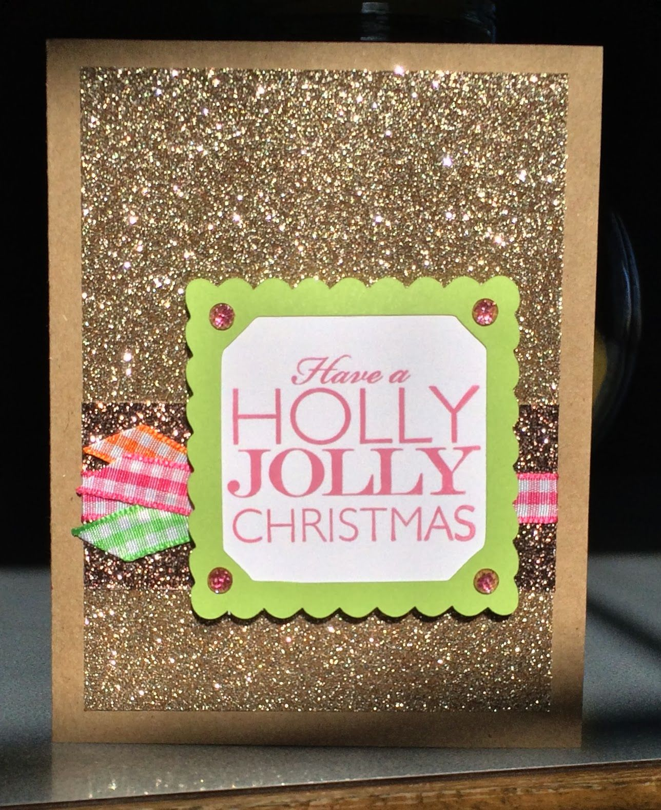Sheilaus stamping stuff gingham and kraft and sparkle frosted