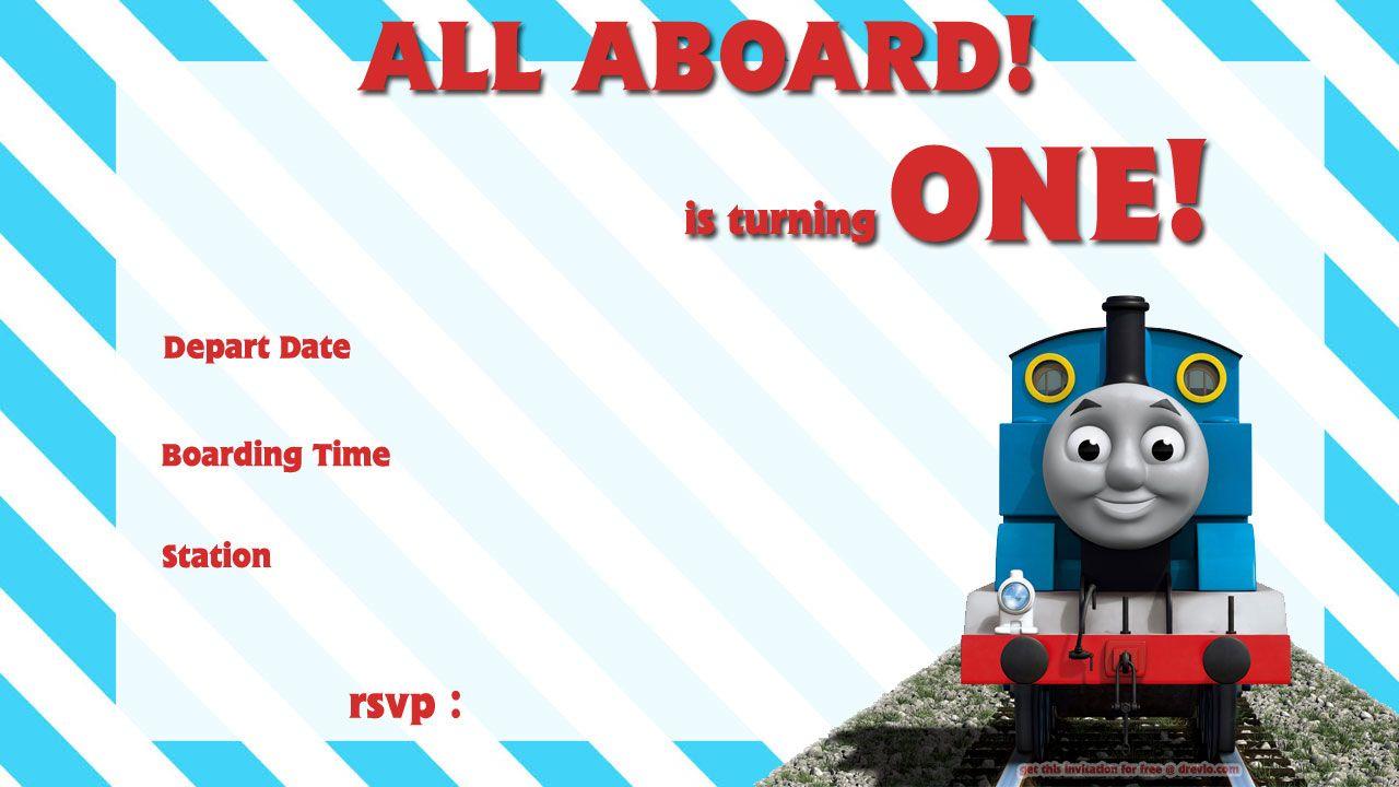 Download Free Printable Thomas The Train 1st Birthday Invitation