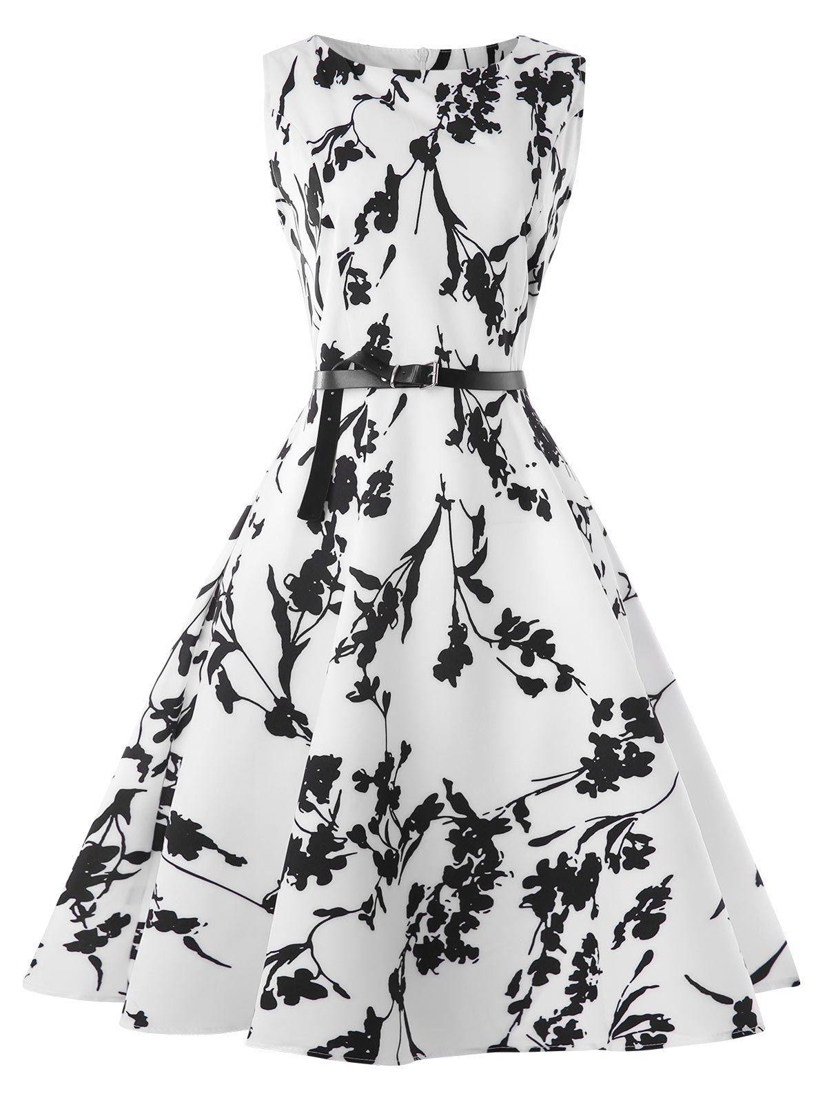 Vintage Boat Neck Belted Tea Dress