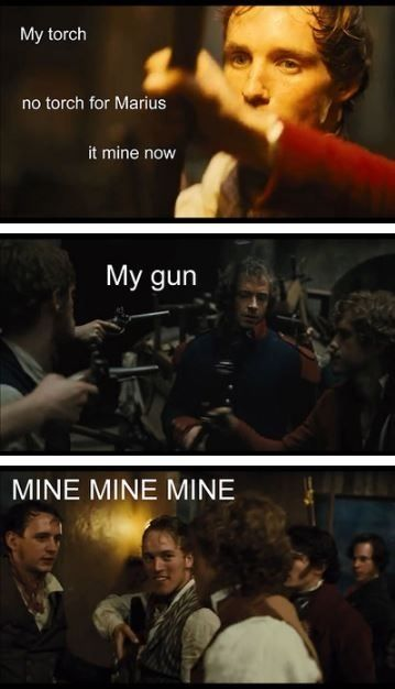 I love how this is tumblr trying to make funny that part of the book, when enjolras was fighting like a flaming angel and people kept replacing his sword for him to keep fighting.