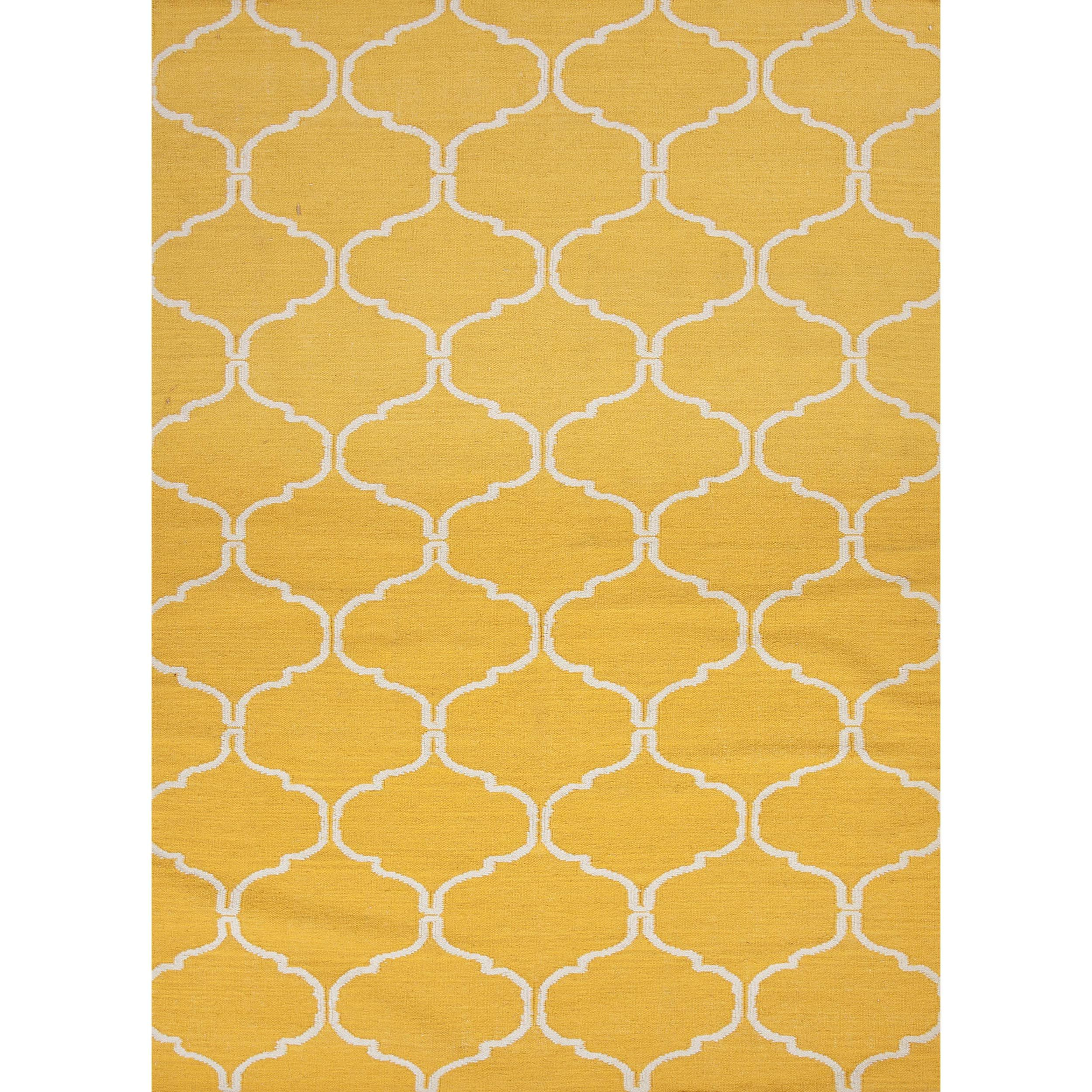 An interesting pattern of geometrics in a simple flat weave designs this wool rug. Mango yellow looks modern and fresh and very contemporary.