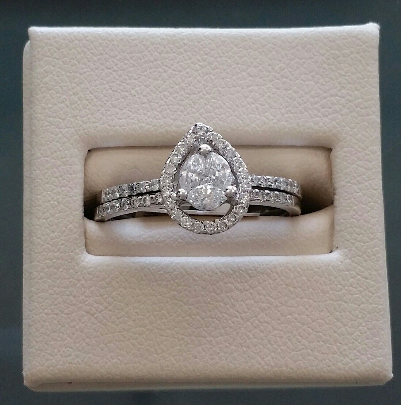 Pear Illusion engagement Ring at Northwood Jewelers on SALE