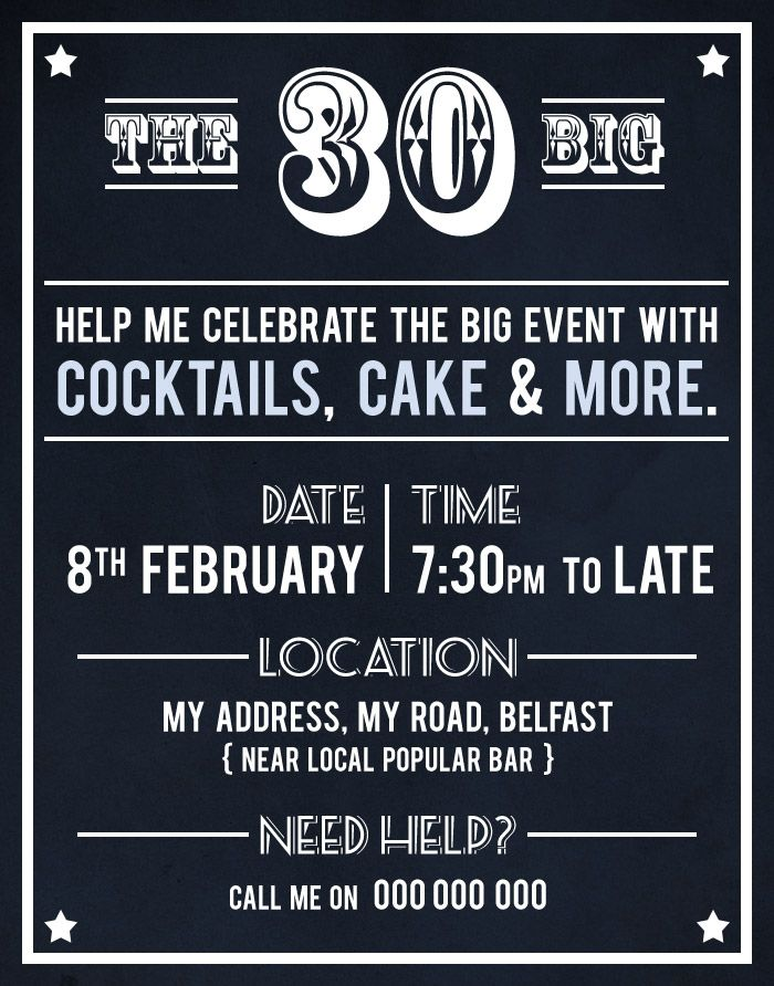 30th Birthday Party Invite by Akaihane #graphic #party | birthday ...
