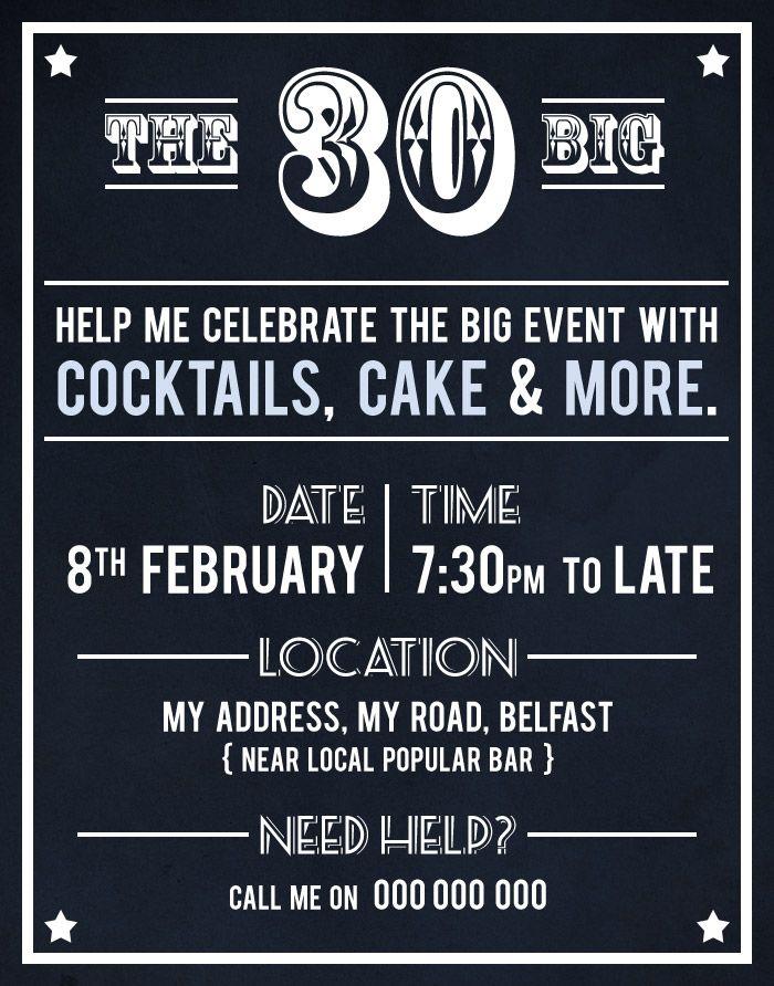 30th Birthday Party Invite by Akaihane birthday Pinterest 30