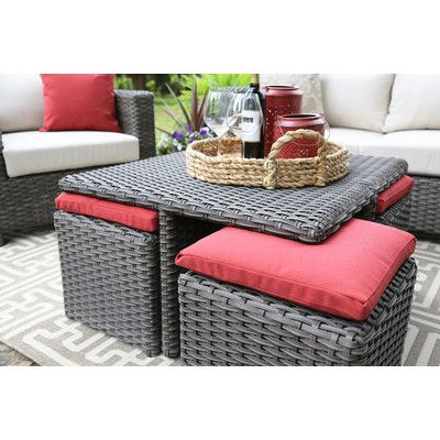 Ae Outdoor Carson 9 Piece Seating Group In Wicker Dark Gray Reviews Wayfair