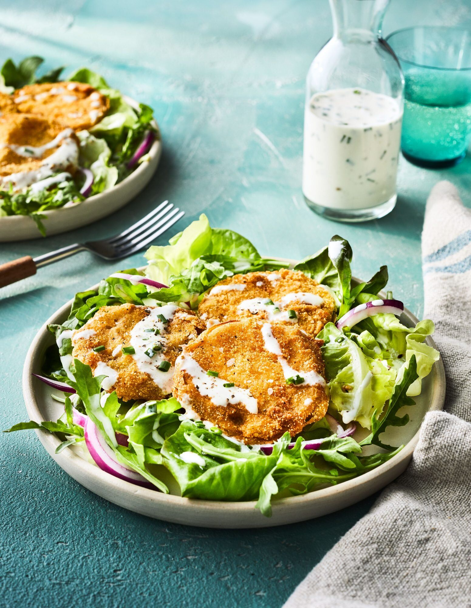 Fried Green Tomato Salad With Buttermilk Dressing Recipe In 2020 Tomato Salad Green Tomatoes Crunchy Greens