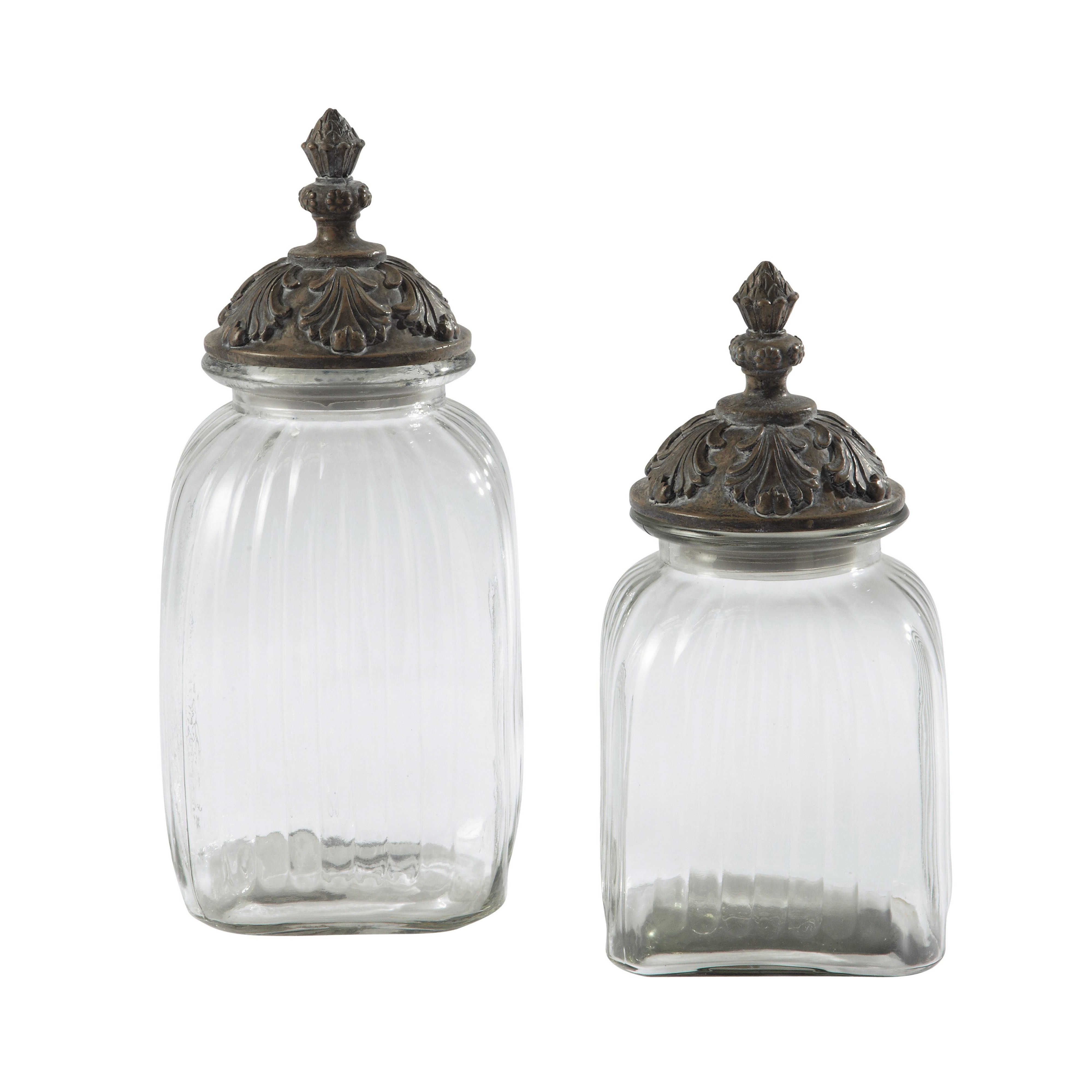 Accessori Bagno Shabby Chic Line 2 gläser abelia mit deckel aus kunstharz h cuisine