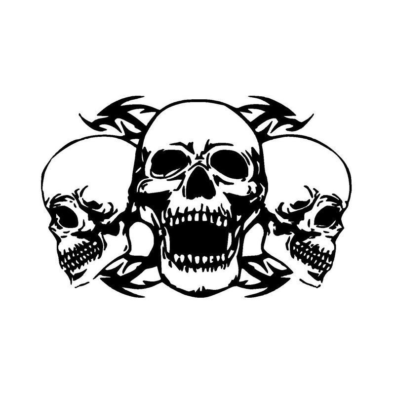CM Personalized Custom Triple Skull Car Stickers - Custom motorcycle stickers and decals