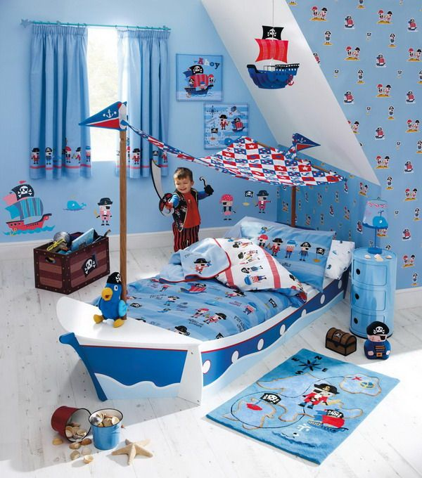 Kids bedroom ideas with blue pirates neat bedrooms for Kids pirate room