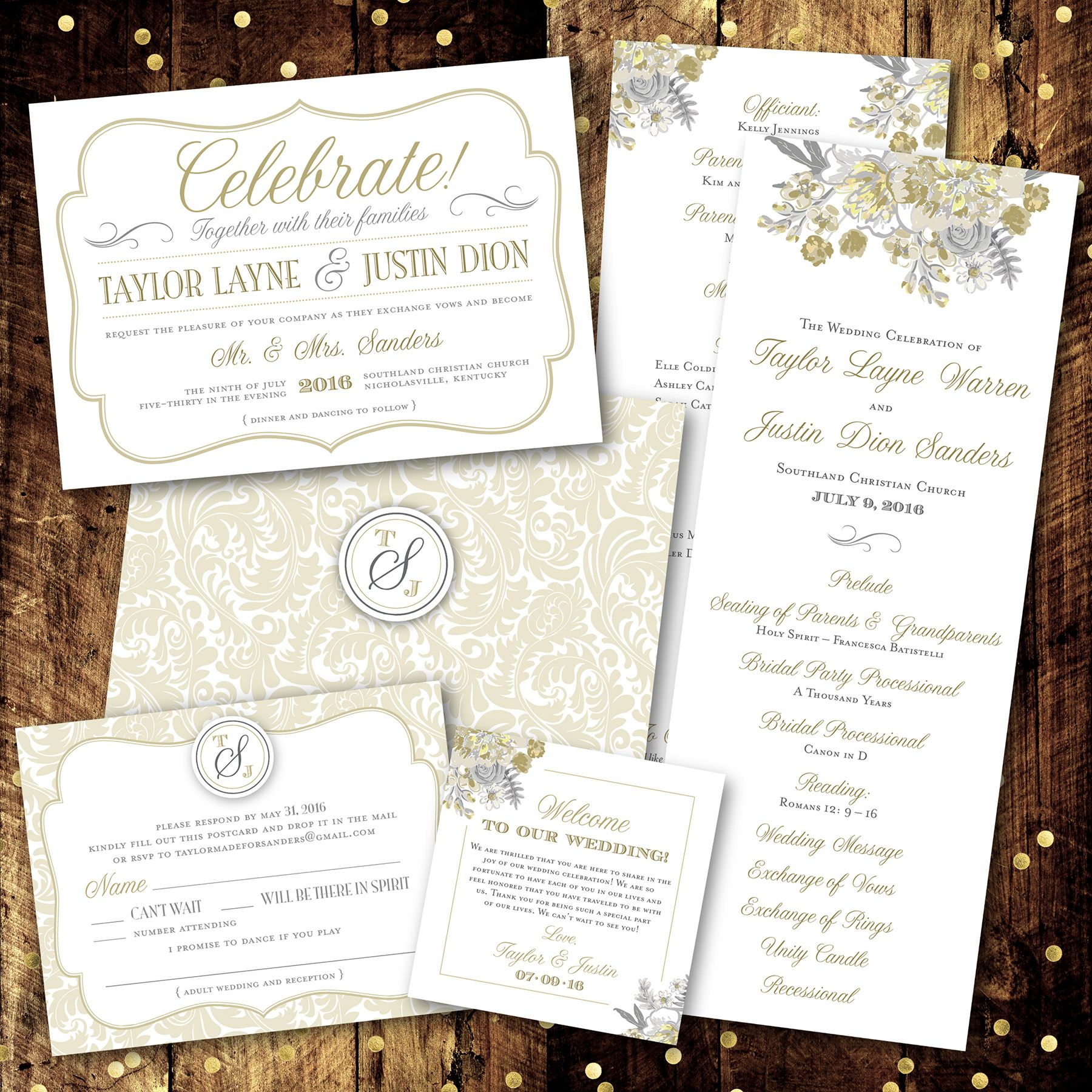 Neutral Floral Traditional Classic Theme Monogram Wedding