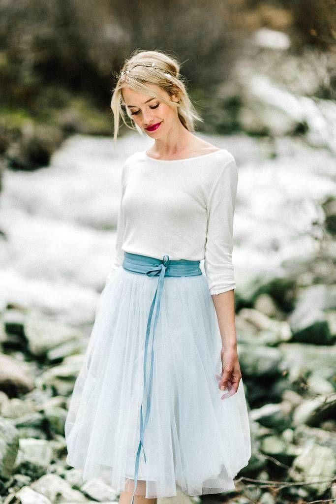 Tüllrock, kurz in Blau für die Hochzeit - Zoe   Brautmode ...