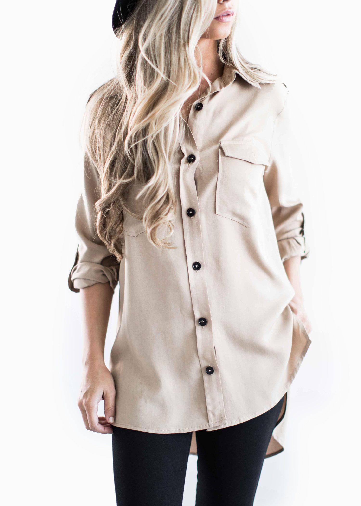tan button up shirt, womens fashion, shop jessakae, fall style ...