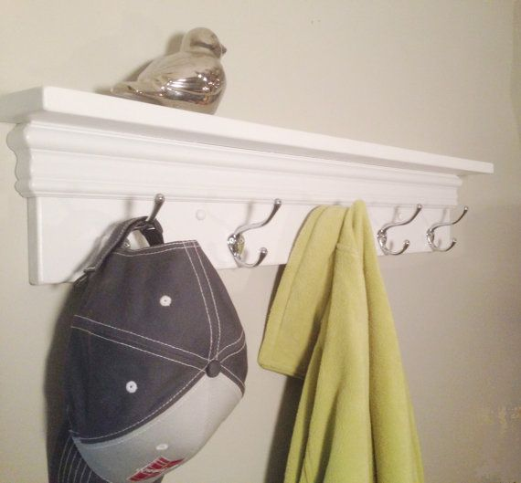 Towel hooks, Coat rack, Decorative shelf in White | Decorative ...