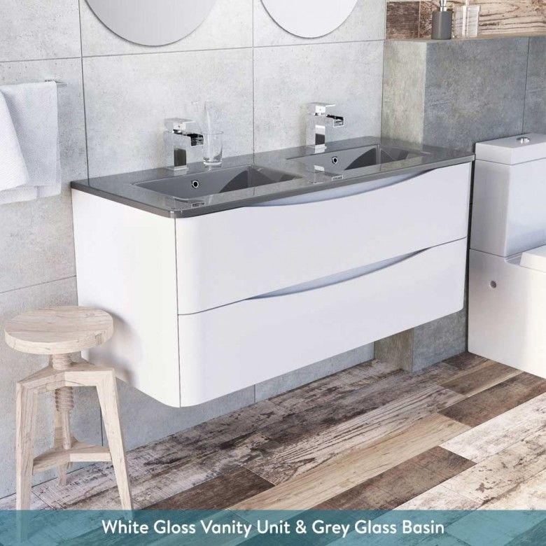 Harbour Clarity 1200mm Wall Mounted Vanity Unit Double Basin Double Basin Vanity Unit Basin Vanity Unit Vanity Units