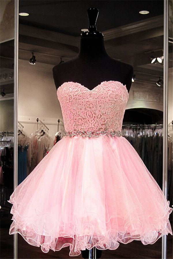 Hot Sale Pink Sweetheart Mini Short Cocktail Dresses Tulle Party ...