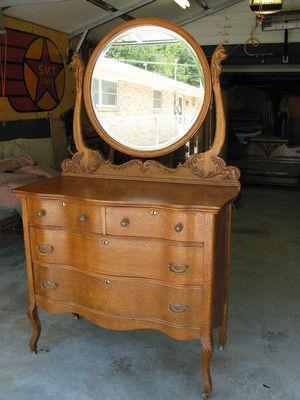 American Quartersawn Oak Serpentine Dresser Ebay Antique With Mirror