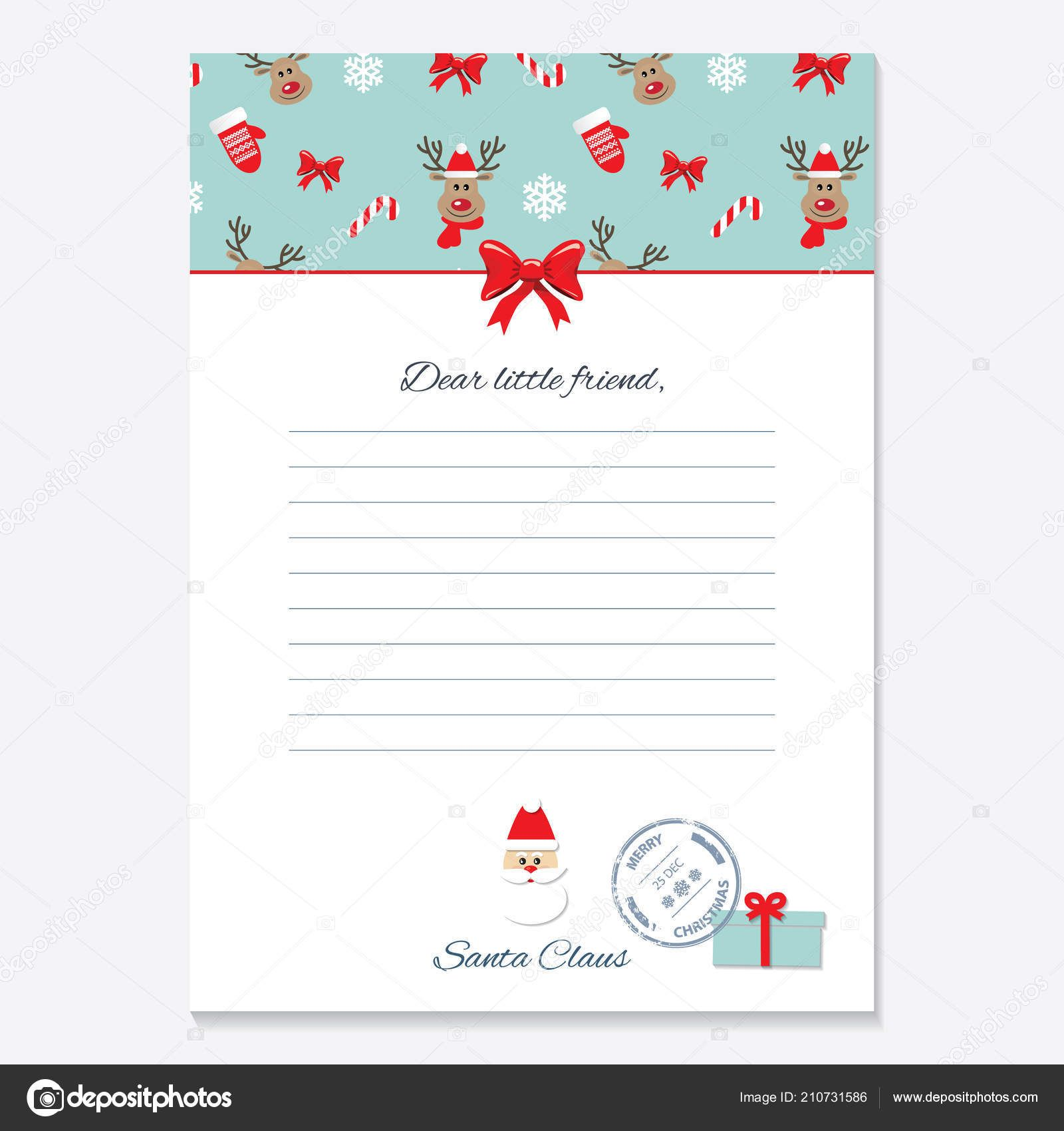 Christmas Letter From Santa Claus Template. — Stock Vector