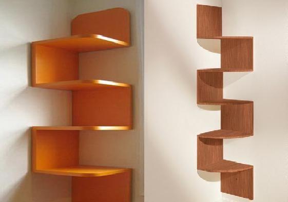 green corner wall shelf idea | Lovely Corner Wall Shelves Ideas | Corner shelf design ...