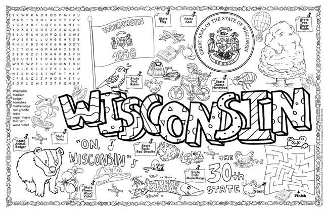 Gallery For Gt Wisconsin State Tree Coloring Page With Images