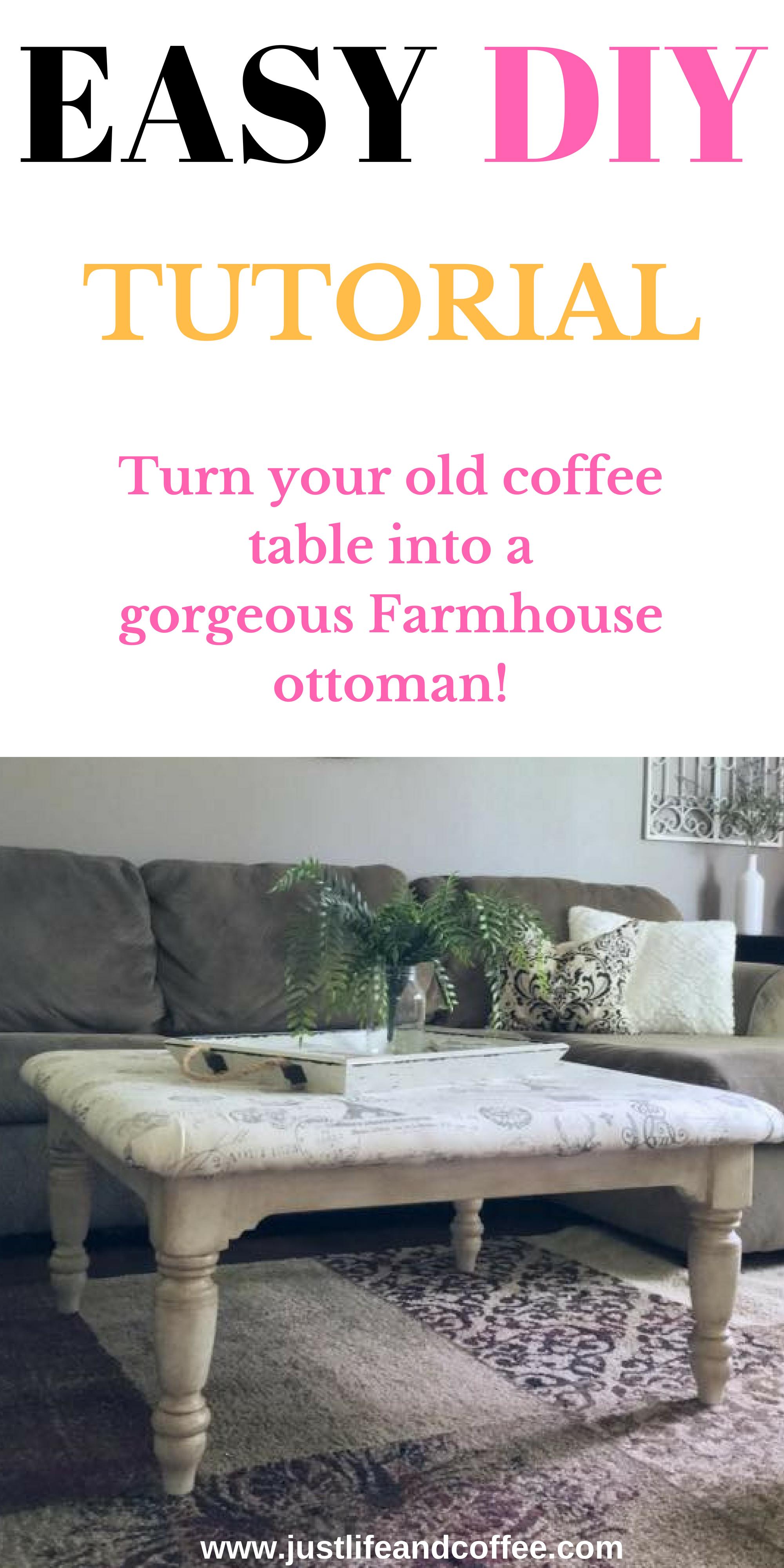 Diy Farmhouse Coffee Table Ottoman Easy Tutorial Just Life And Coffee Diy Farmhouse Coffee Table Diy Ottoman Coffee Table Old Coffee Tables [ 4000 x 2000 Pixel ]
