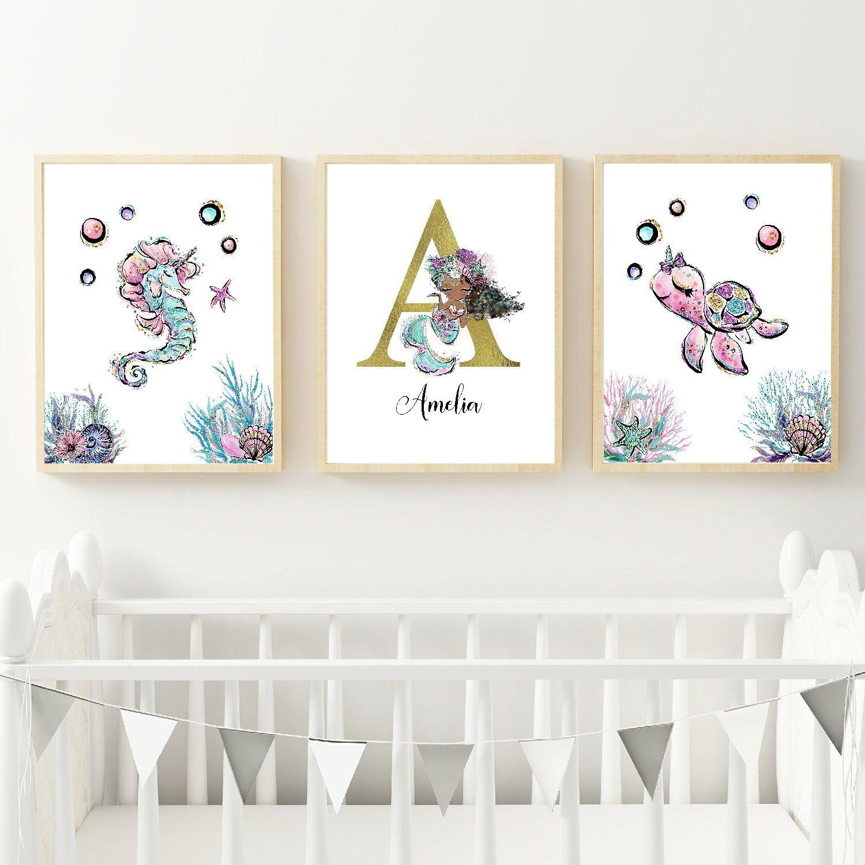 Mermaid prints girls nursery prints printable customizable set