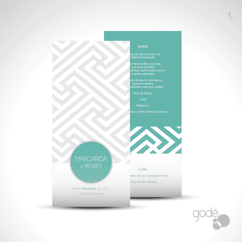 Casamento Margarida e Pedro 2015  Trabalho: 1. Ementa  Pedidos de Orçamento para geral@gode.pt #GodeArteDesign #Wedding #Invitation #WeddingInvitation #WeddingIdeas #Casamento #DesignGrafico