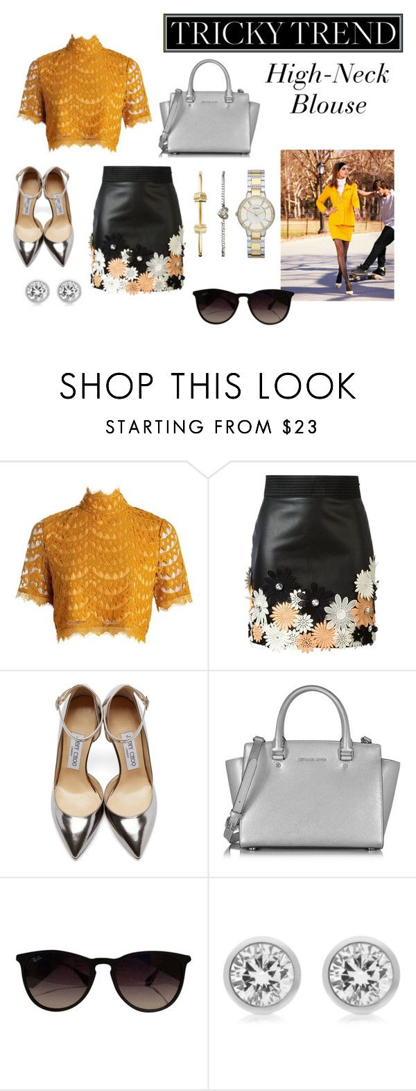 """Loving this trend forever"" by mapiloria ❤ liked on Polyvore featuring Emanuel Ungaro, Jimmy Choo, Michael Kors, Ray-Ban, FOSSIL, women's clothing, women's fashion, women, female and woman"