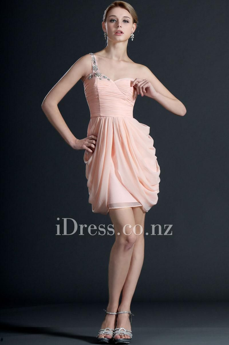 Beaded One Shoulder Pink Chiffon Cocktail Dress | Cocktail Dresses ...