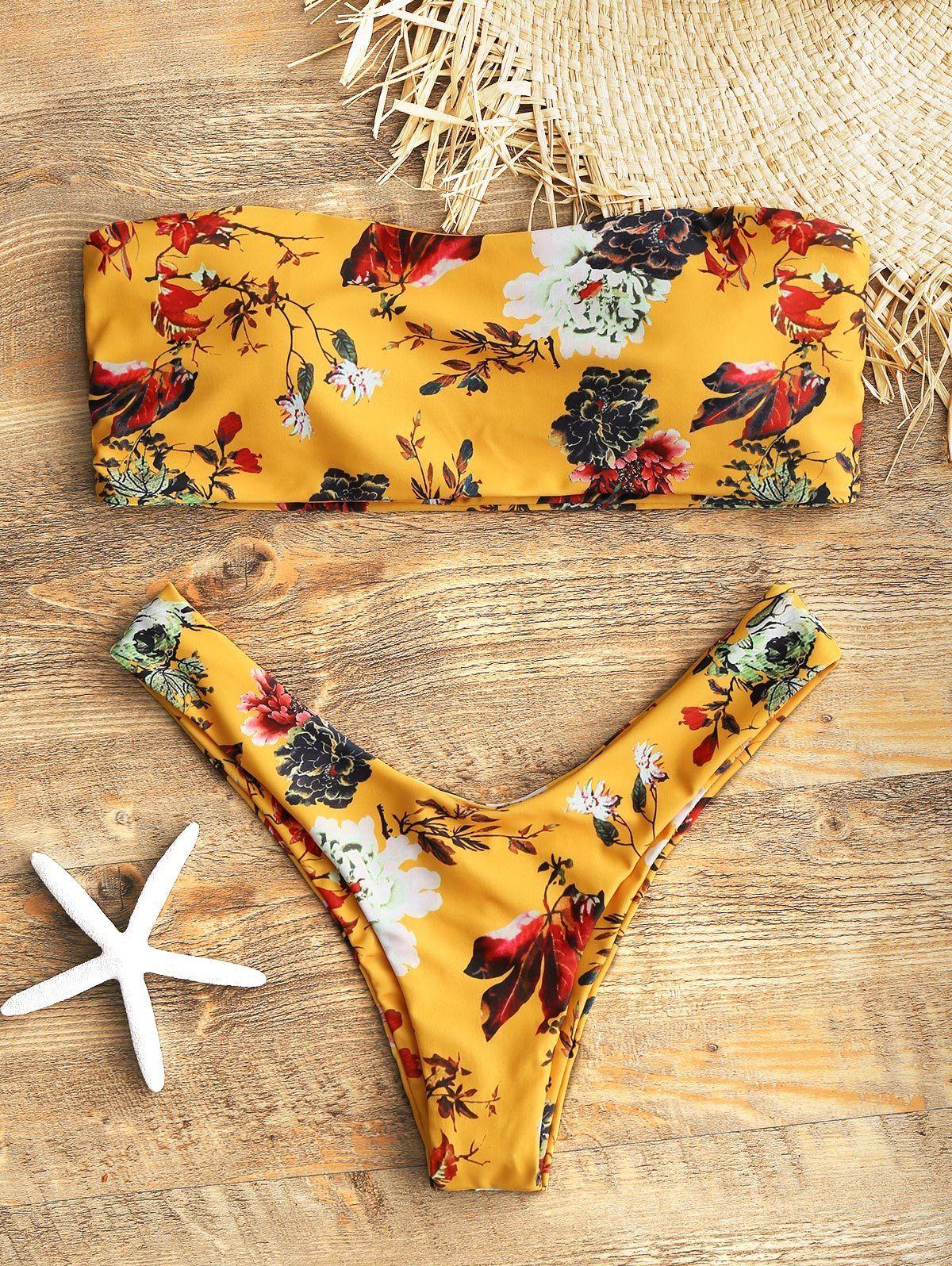 2f0593d3db203 Mustard Floral Strapless Bikini Set