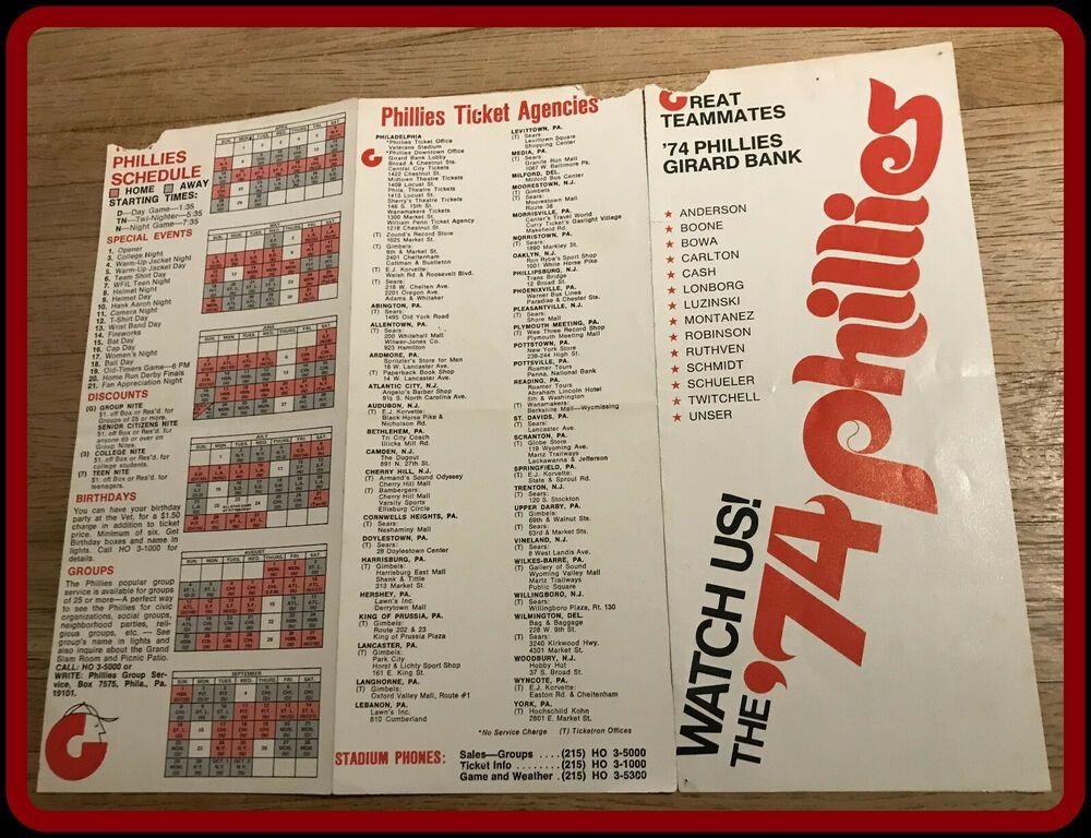 1974 PHILADELPHIA PHILLIES GIRARD BANK SCHEDULE AND TICKET
