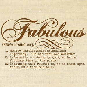 Definition FABULOUS Word Typography Digital Image Download T ..