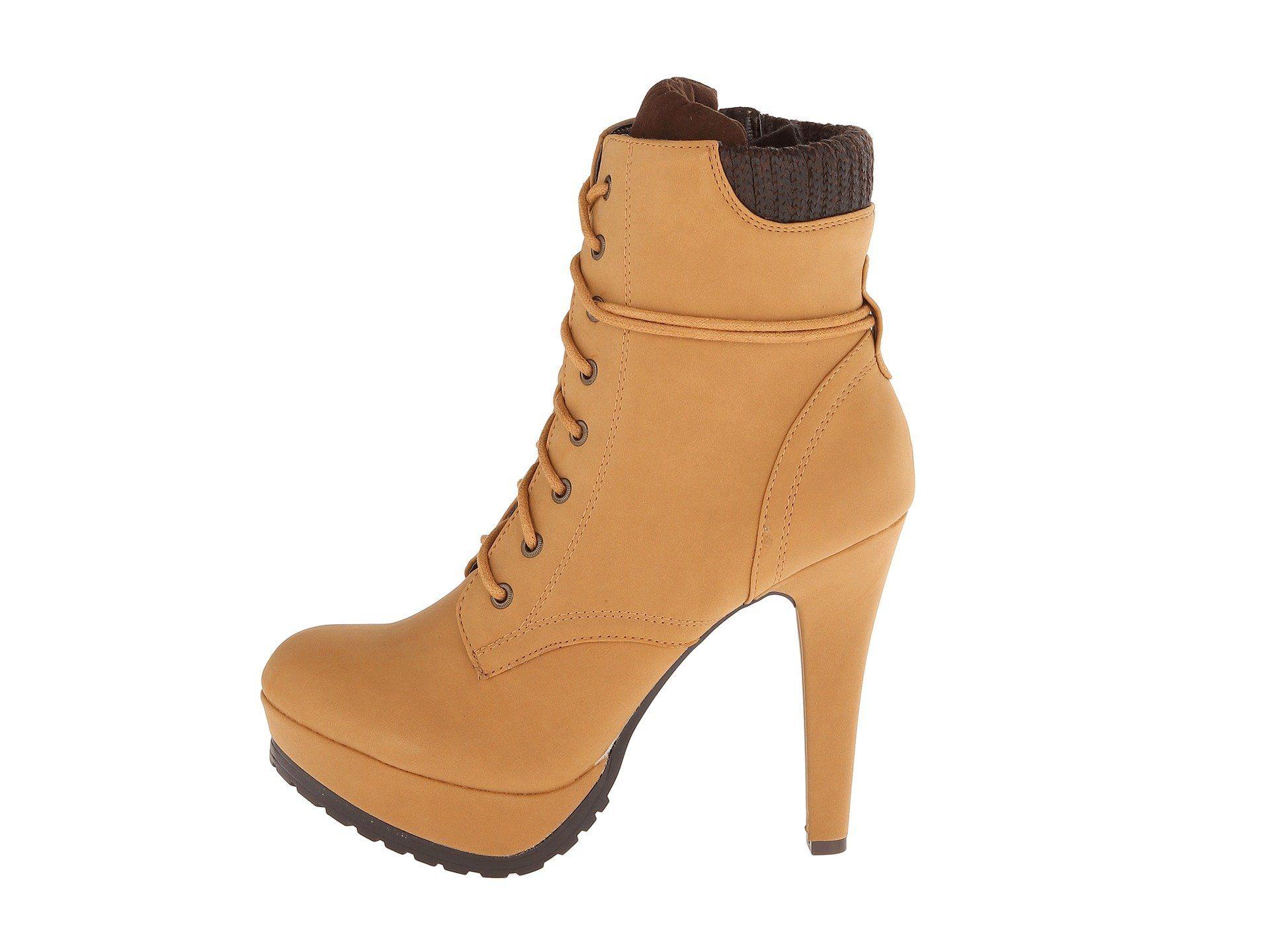 7c1b3921e1571 FootGift botte femme jaune en cuir a talon haut avec lacets bout rond EU36