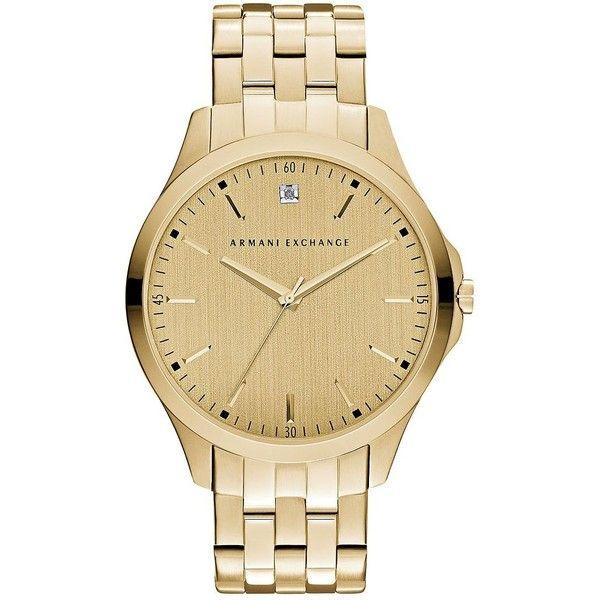 Armani Exchange Diamond -Tone Stainless Steel Bracelet Watch featuring polyvore men's fashion men's jewelry men's watches gold