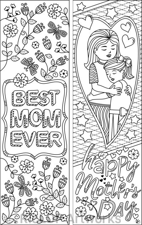 Set of 8 Coloring Bookmarks for Mom Gift Bookmarks on