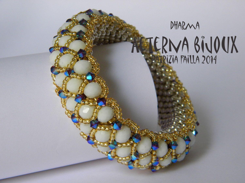 Beading tutorial Dharma bangle-  beadwork, bead pattern, bead tutorial, bead instruction, beading pattern, beading instruction, beading by aeternabijoux on Etsy https://www.etsy.com/listing/194246356/beading-tutorial-dharma-bangle-beadwork