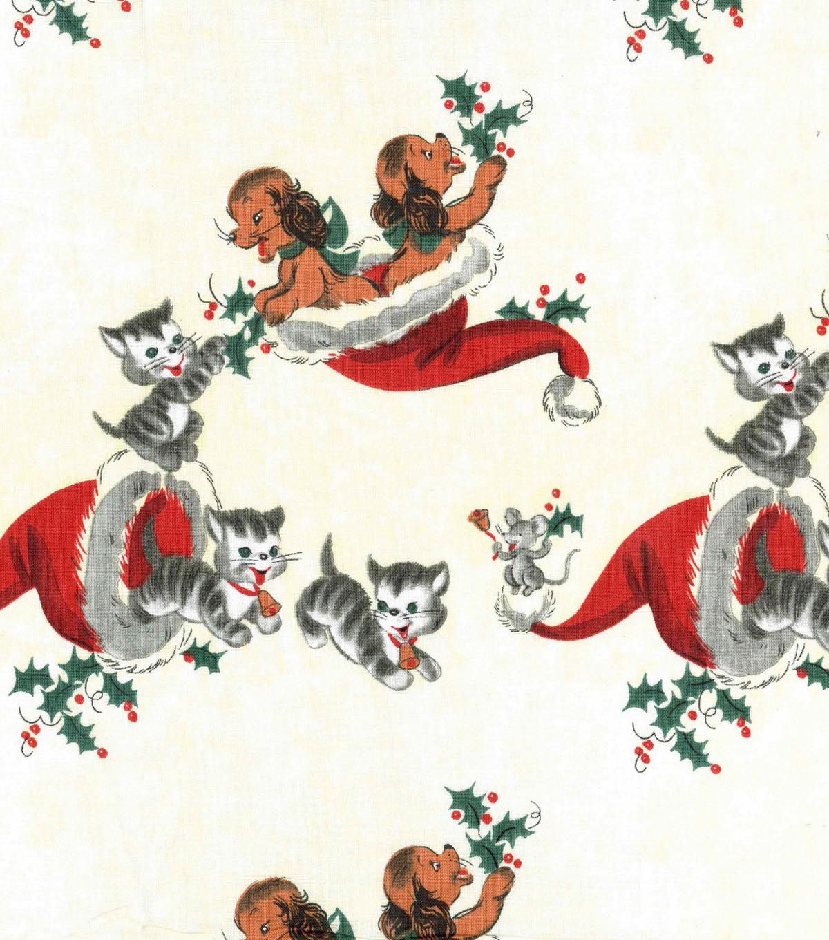 Kaufman bouffants amp broken hearts girls red fabric by the yard - Holiday Inspirations Christmas Fabric Puppies Kittens Vintage