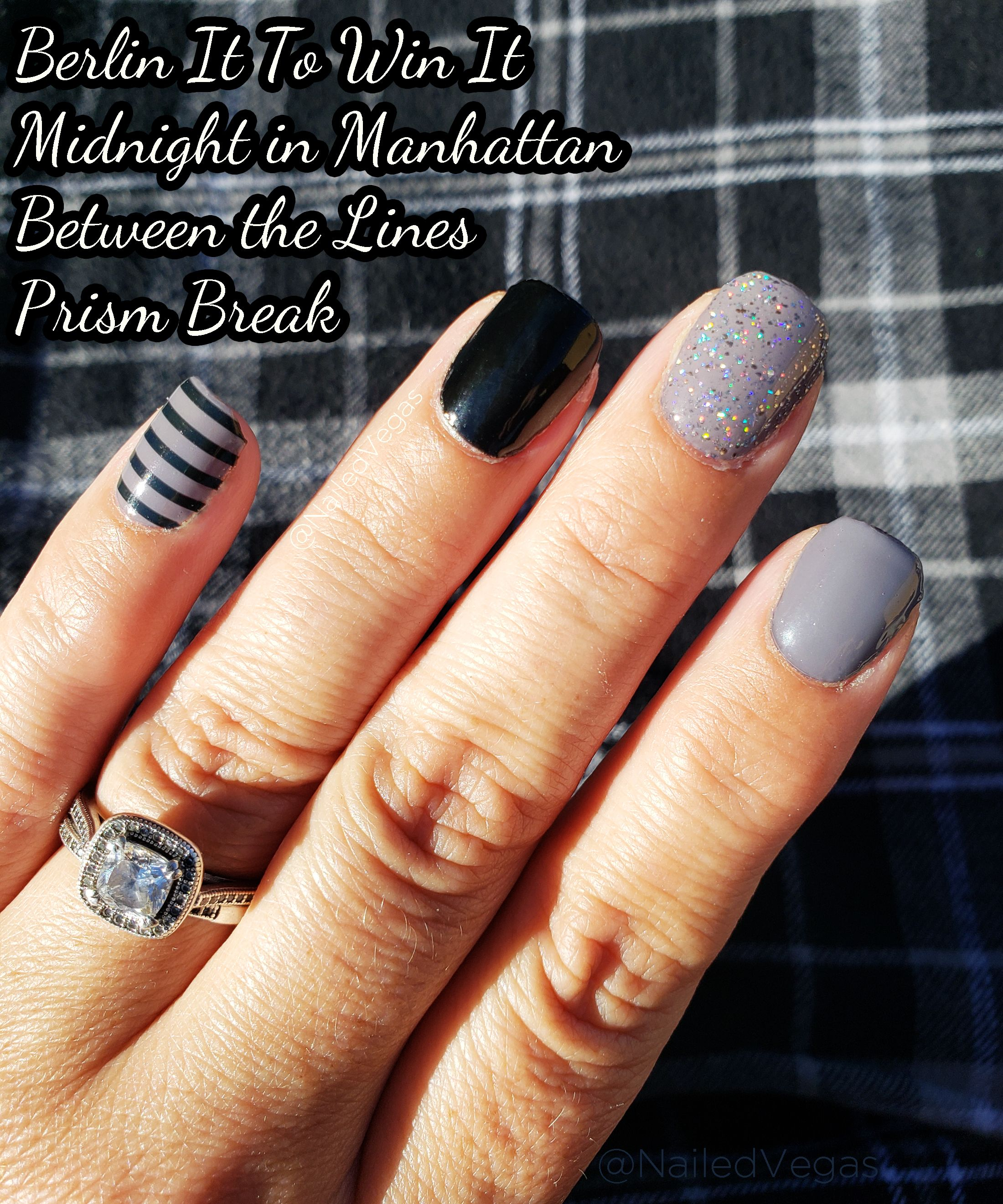 Berlin It To Win It Midnight In Manhattan Between The Lines Prism Break Color Street Nail Mani Color Street Nails Nail Color Combos White Acrylic Nails