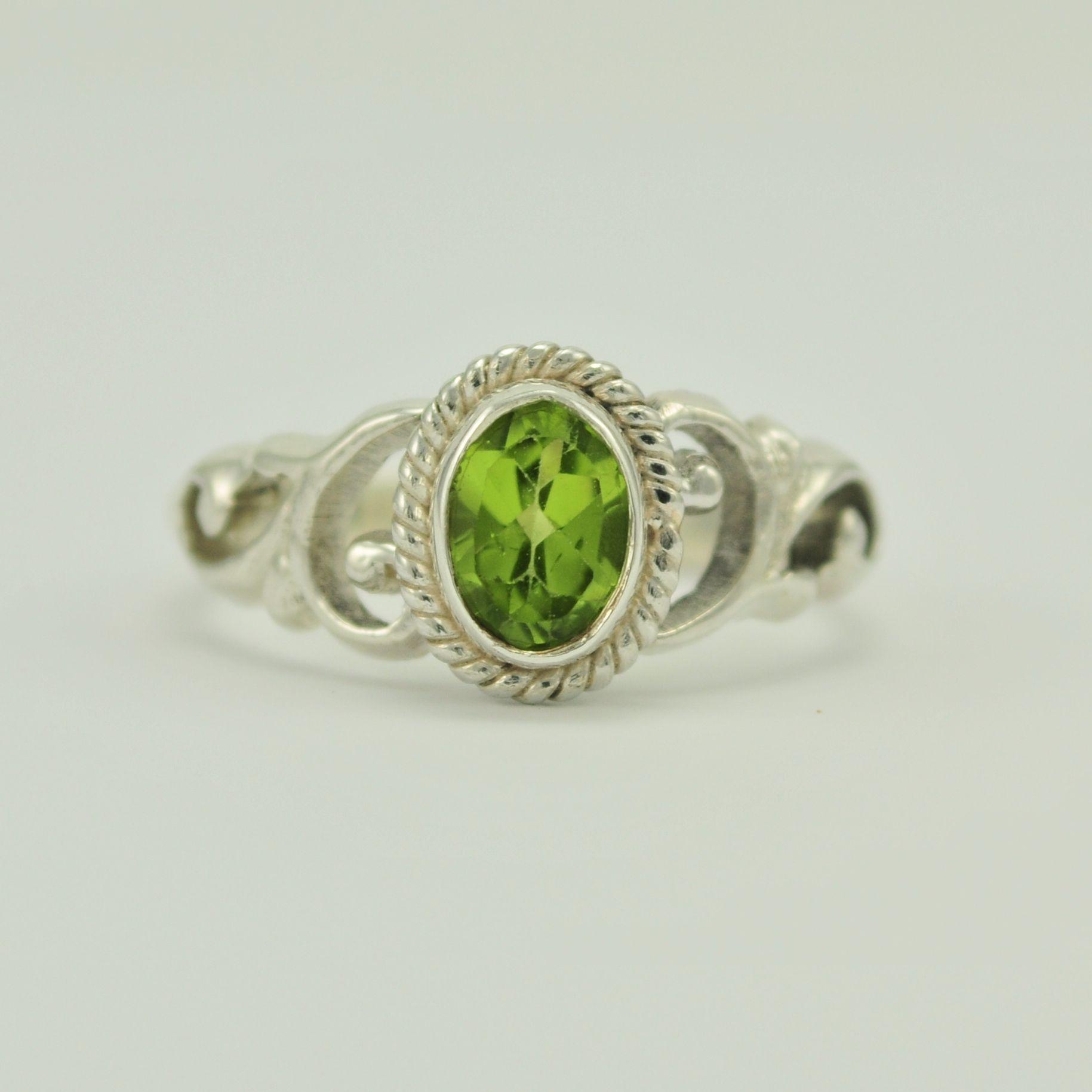 Sterling Silver Peridot Ring Handmade in Nepal
