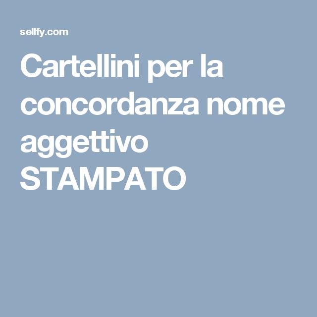 Cartellini per la concordanza nome aggettivo STAMPATO