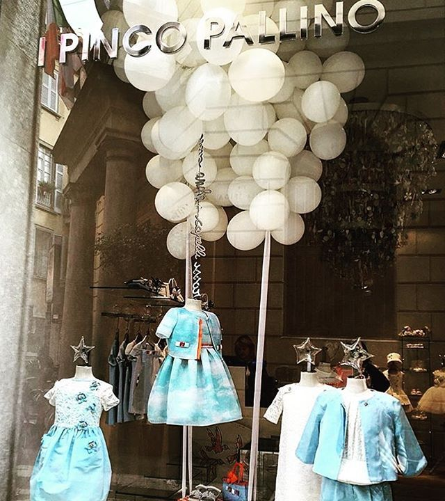 #somewhereovertherainbow #blue #skies as part of a major #up inspiration for #ipincopallino rocking this week #window ! #balloons #clouds #sky #fly #spring #children #shopping #childrenswear #designerchildrenswear #luxury #madeinitaly #fashion