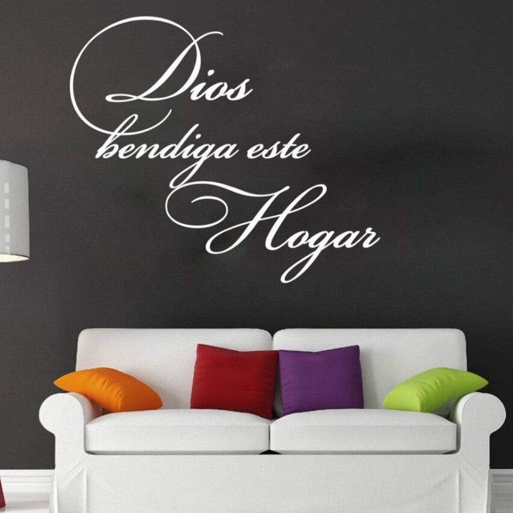 God Bless This Home Vinyl Spanish Wall Stickers Spain Language Dios