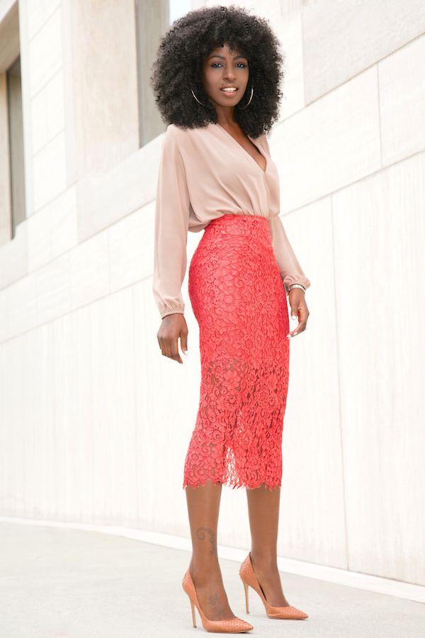 f39cc5ab93e6c Long Sleeve Faux Wrap Blouse + Lace Pencil Midi Skirt (Style Pantry ...
