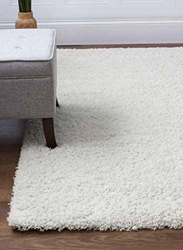 Cozy Solid White High Pile Shag Rug