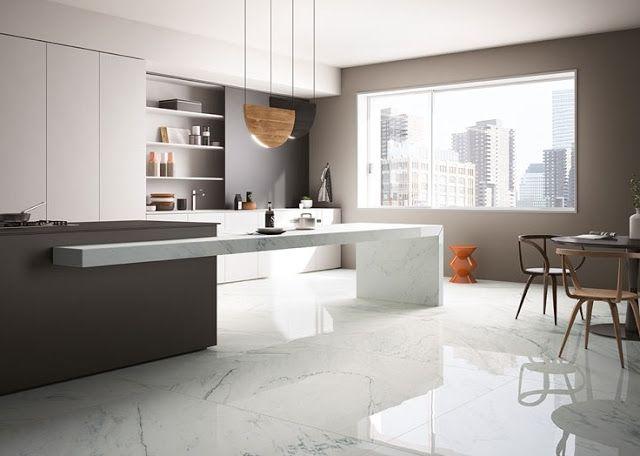 Pavimento in gres porcellanato rettificato effetto marmo per ...