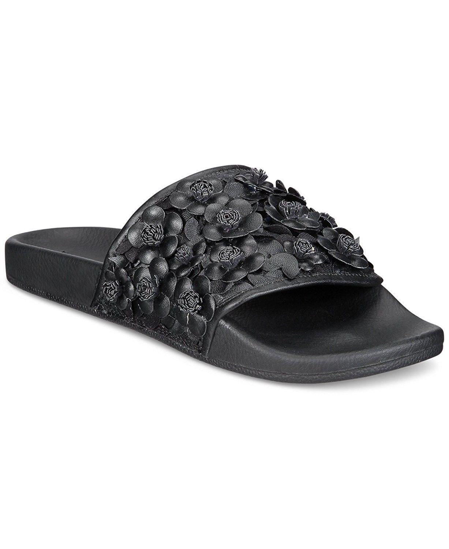 3a6a46660e8360 Joyce Azria Stella Floral Embellished Slide - Black Floral ...