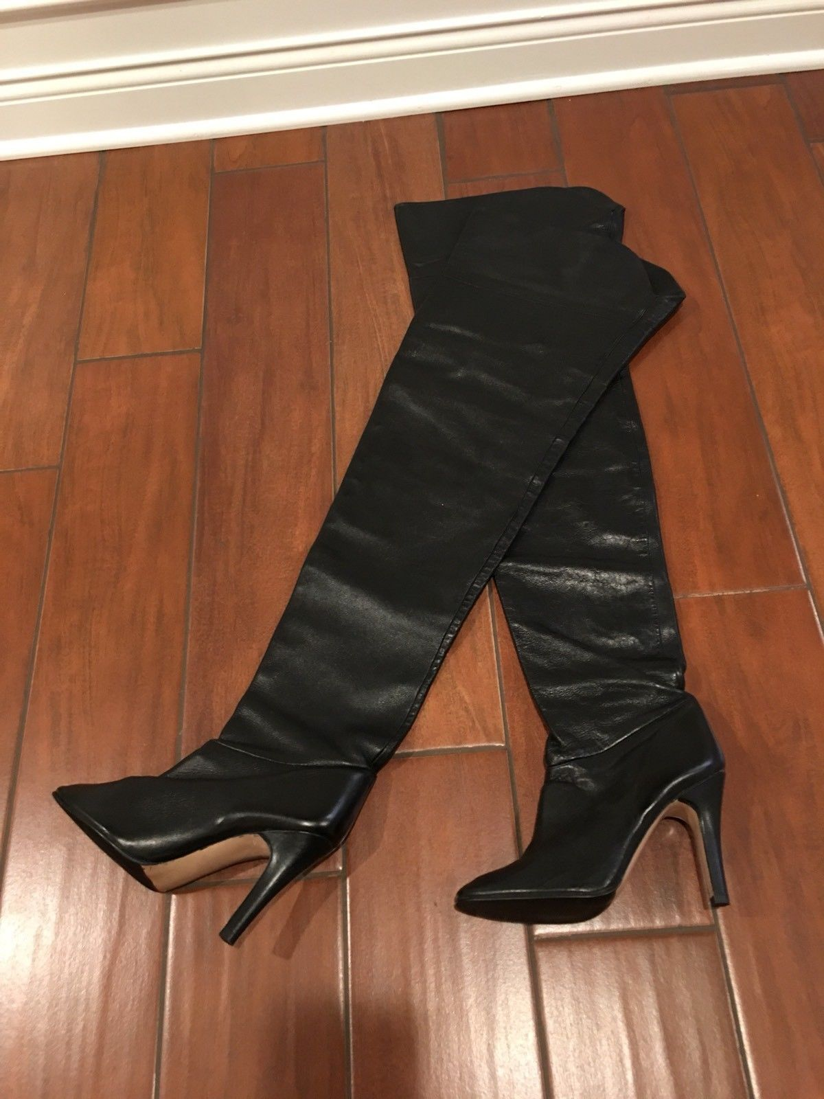"""26c0f2eb910 Rare Vintage 35"""" WILD PAIR Black Leather Crotch Boots Thigh High Over The  Knee"""