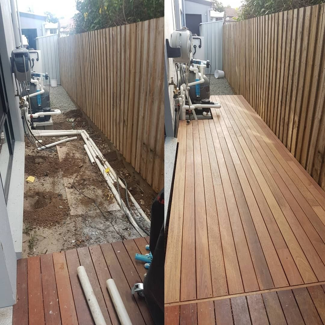 Merbau Deck Brisbane Before And After Perfect Solution For Narrow Block Houses With Limited Light At Side Access Where The Grass Wont G Timber Deck Deck Timber