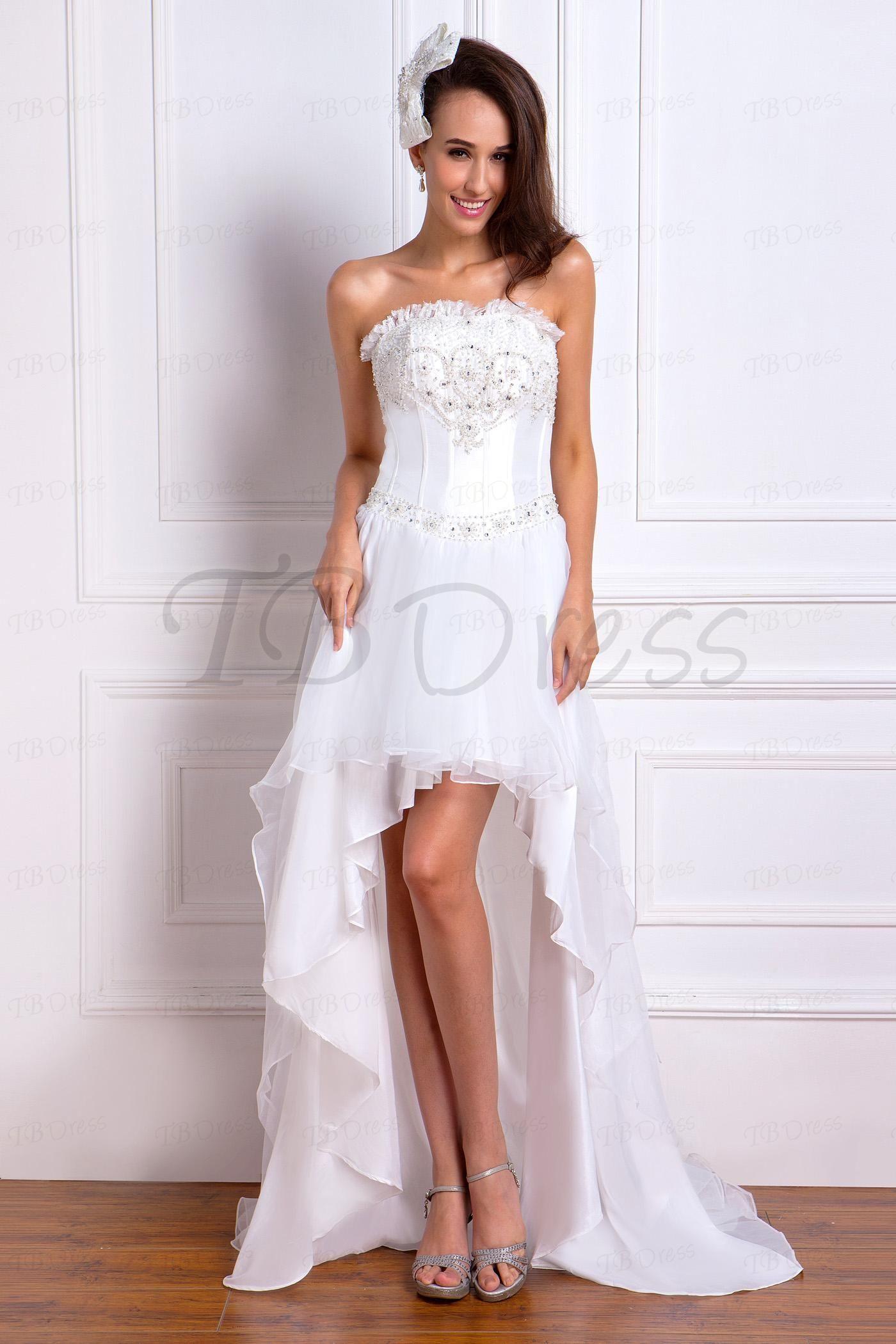 Beaded strapless high low beach wedding dress wedding dress dress