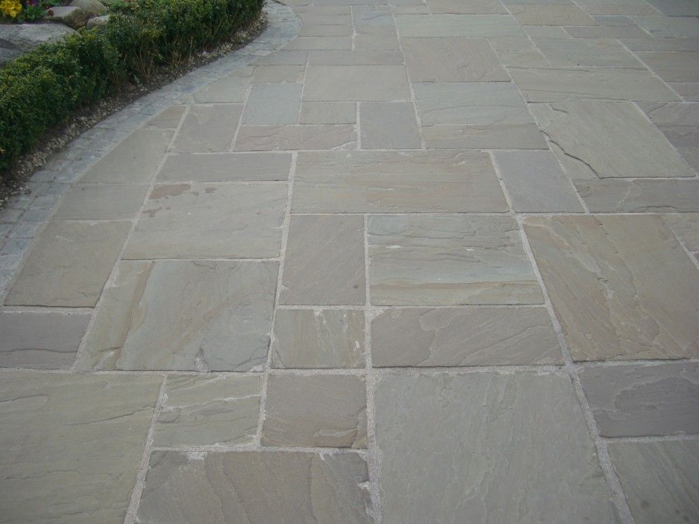 Indian sandstone paving raj green single sizes quality for Green pavers